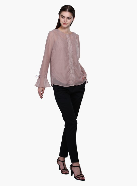 Textured Bell Sleeves Top with Lace Trim