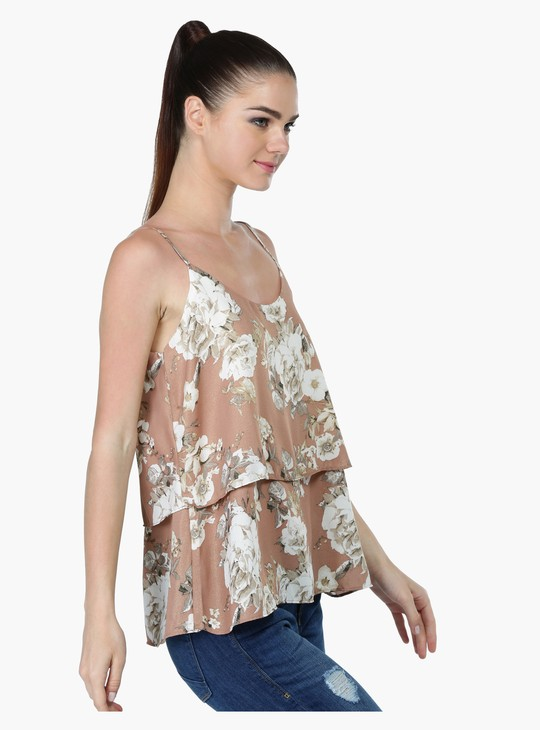 Floral Print Layered Camisole Top with Scoop Neck