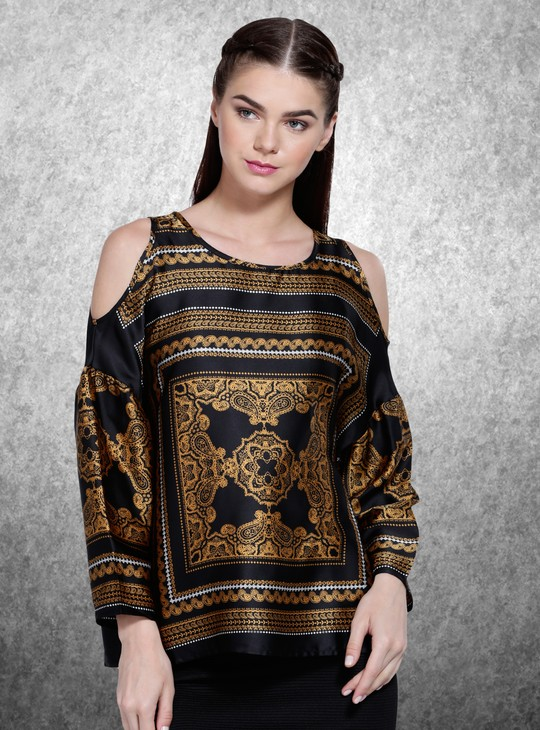 Printed Round Neck Top with Clod