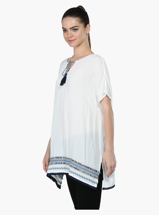 Textured Tunic with Short Sleeves and Fringed Detailing