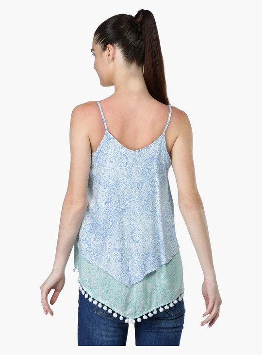 Printed Sleeveless Top with Tassels