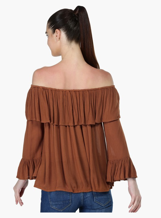 Textured Off Shoulder Top with Bell Sleeves