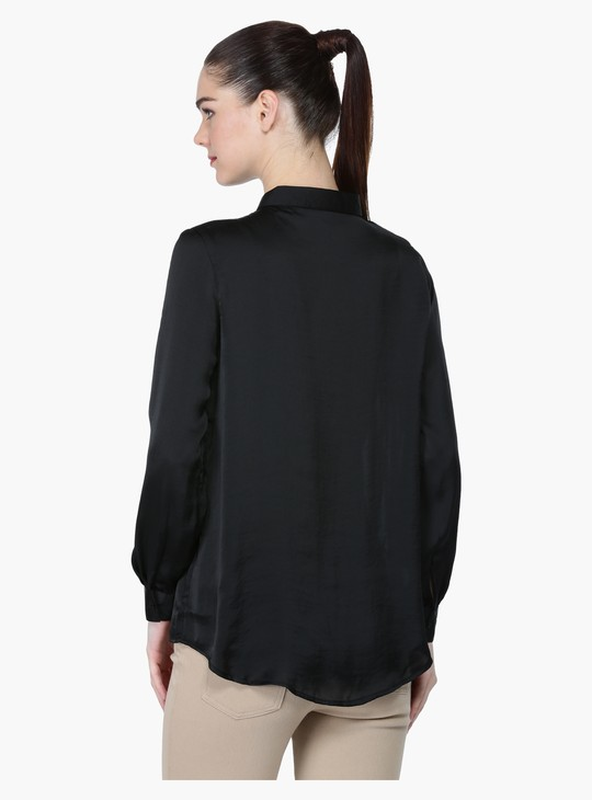 Spread Collar Shirt with Long Sleeves