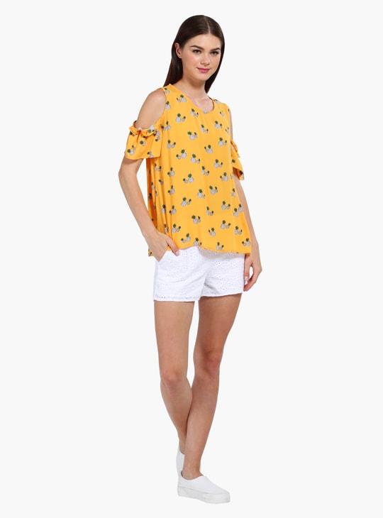 Pineapple Print Cold Shoulder Top