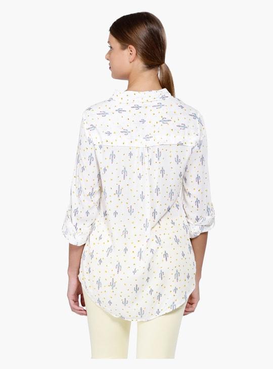 Printed Roll Up Sleeves Shirt
