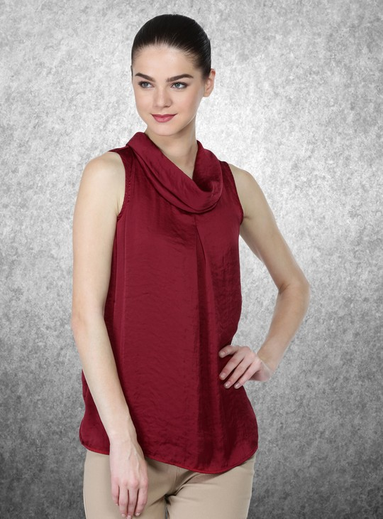Sleeveless Top with Cowl Neck