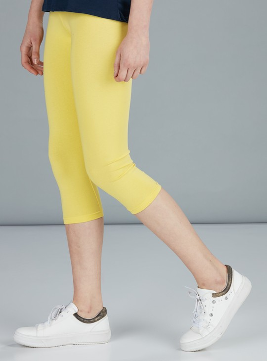 Mid Rise 3/4 Leggings with Elasticised Waistband