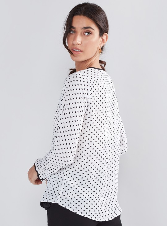 Printed Top with Long Sleeves and Piping Detail