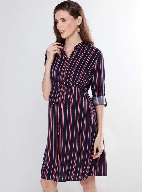 Maternity Striped Shirt Dress with Long Sleeves and Concealed Placket