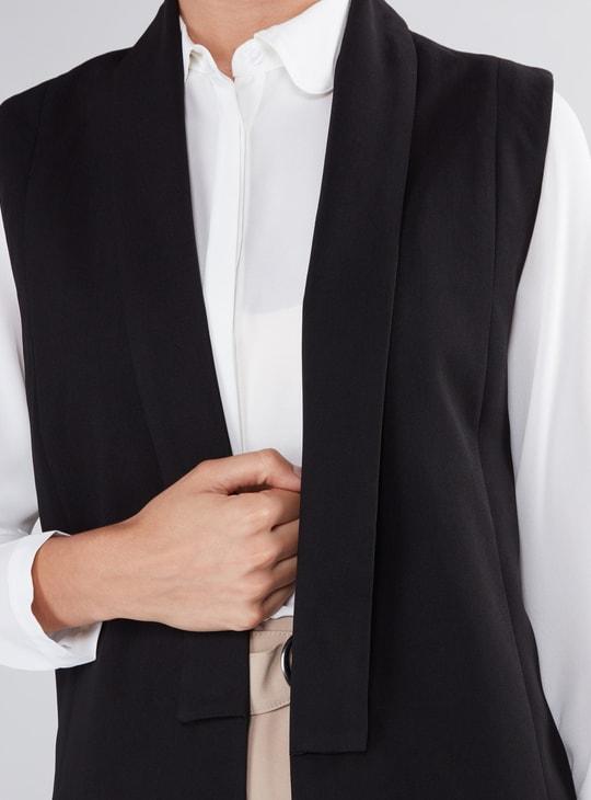 Sleeveless Longline Open Front Jacket