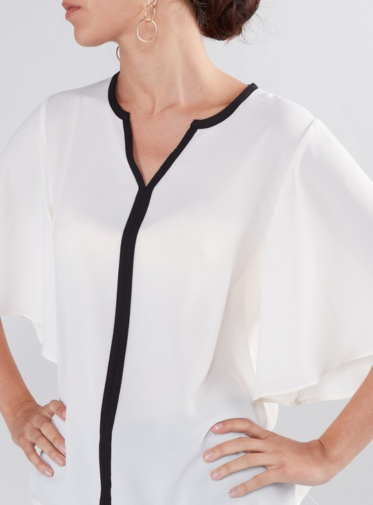 Piping Detail Top with V-Neck and Flared Sleeves