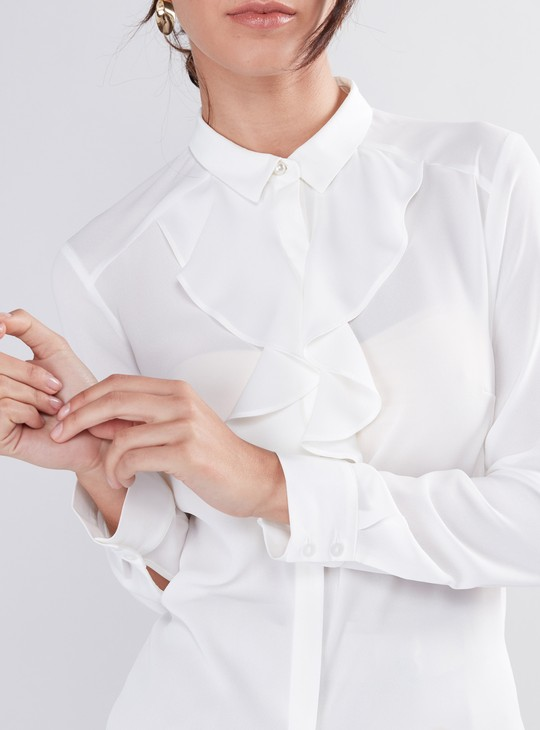 Long Sleeves Shirt with Ruffle Detail