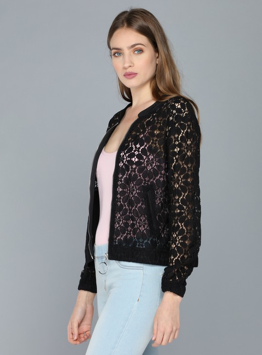 Lace Jacket with Long Sleeves and Zip Closure
