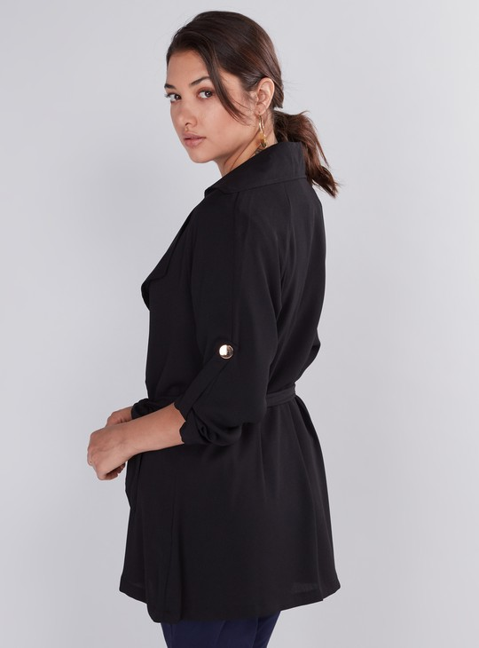 Long Sleeves Trench Coat with Button Closure and Belt