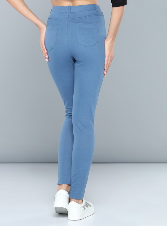 Full Length Mid Rise Jeggings with Elasticised Waistband