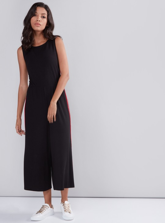 Tape Detail Sleeveless Jumpsuit with Zip Closure