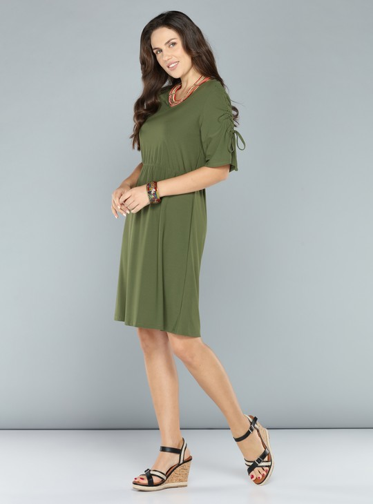 V-Neck Midi Dress with Tie Up Detail and Keyhole Closure