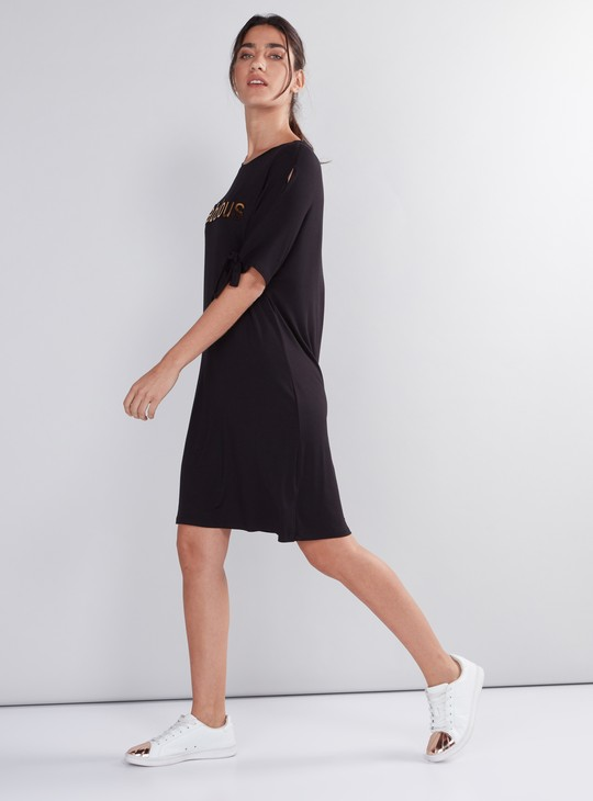 Printed Round Neck Dress with Tie Up Detail Sleeves