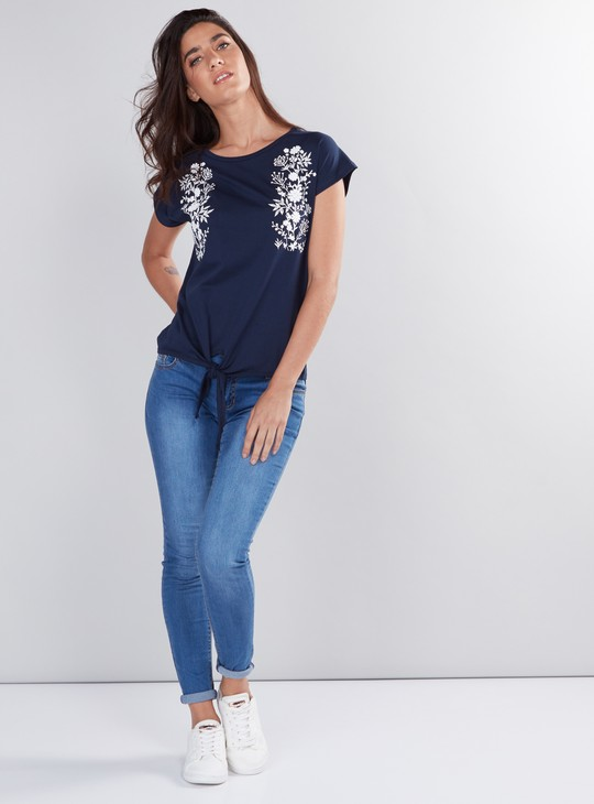 Printed Round Neck Cap Sleeves Top with Knot Detail