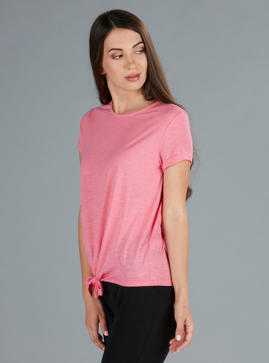 Round Neck T-Shirt with Front Knot