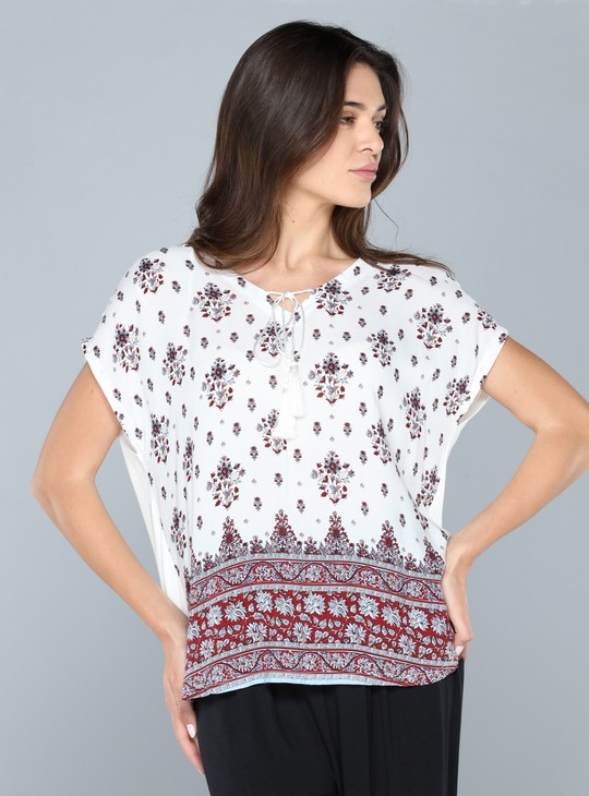 Printed Top with Extended Sleeves and Tie-Up Detail