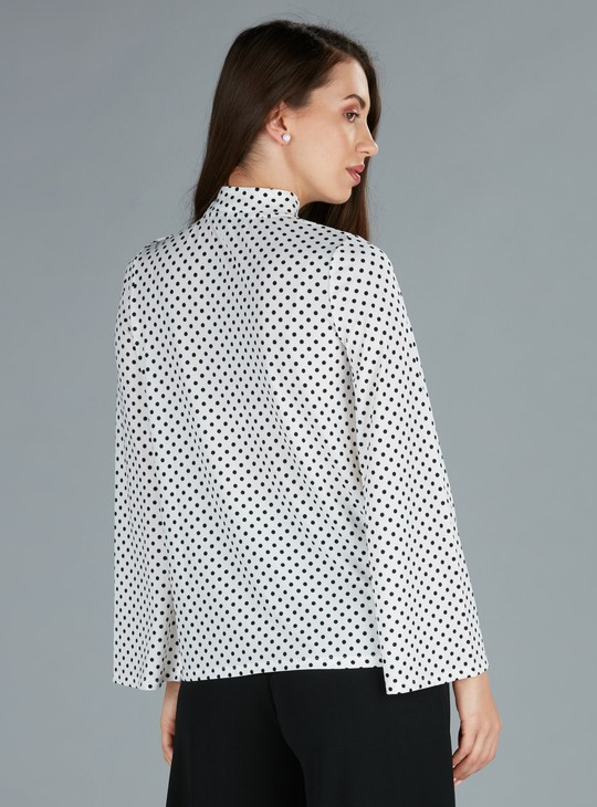 Polka Dot Printed Top with High Neck and Long Sleeves