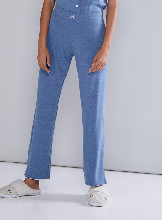Contrast Detail Melange Shirt and Pyjama Set