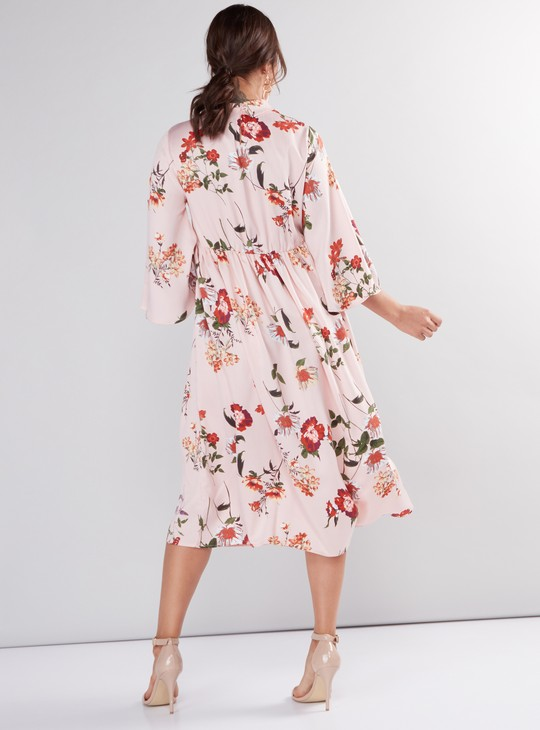 Floral Printed Midi Dress with 3/4 Sleeves and High Neck