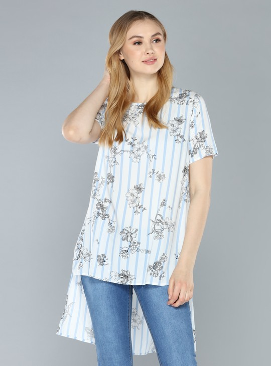 Printed Top with Round Neck and High Low Hem