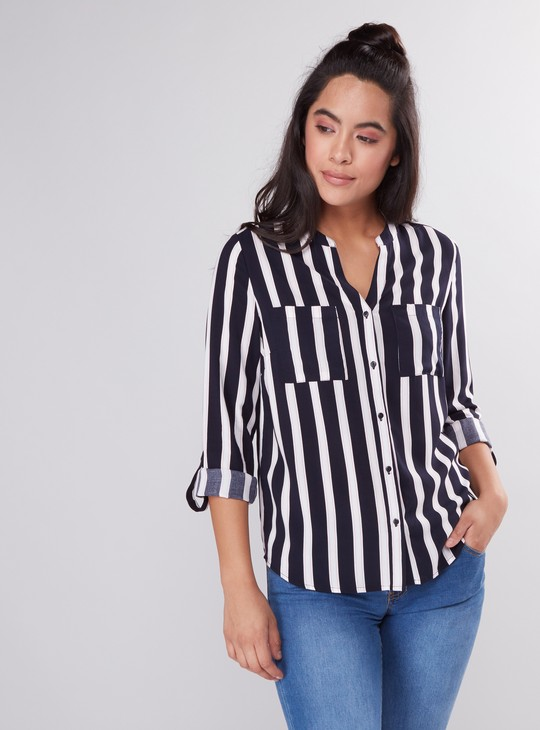 Striped Long Sleeves Shirt with Complete Placket and Pocket Detail