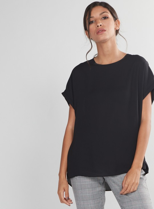 Round Neck Top with Extended Sleeves