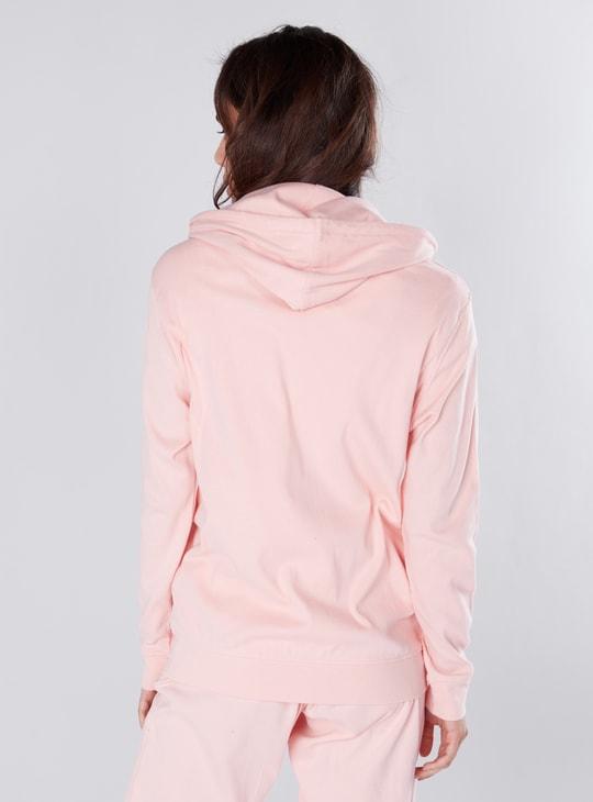 Hooded Sweatshirt with Long Sleeves and Zip Closure