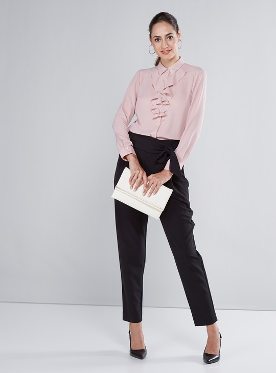 Solid Ruffle Detail Shirt with Long Sleeves
