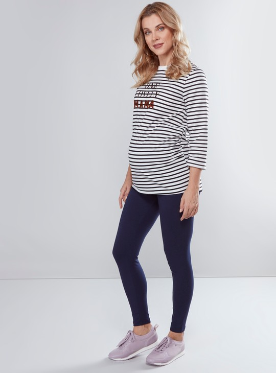 Maternity Solid Leggings with Elasticised Waistband in Slim Fit