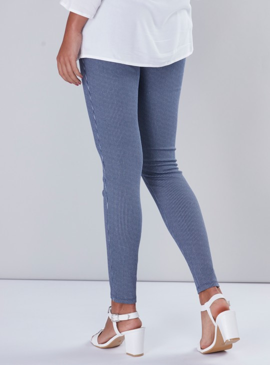 Maternity Striped Mid-Waist Jeggings in Skinny Fit