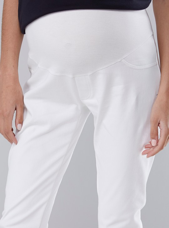 Maternity Solid Jeggings in Skinny-Fit with Elasticised Waistband