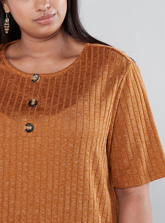 Ribbed Button Detail T-shirt with Short Sleeves