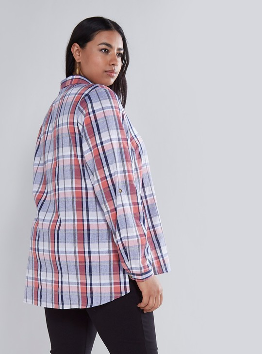 Checked Collared Shirt with Long Sleeves and Roll-Tab Feature