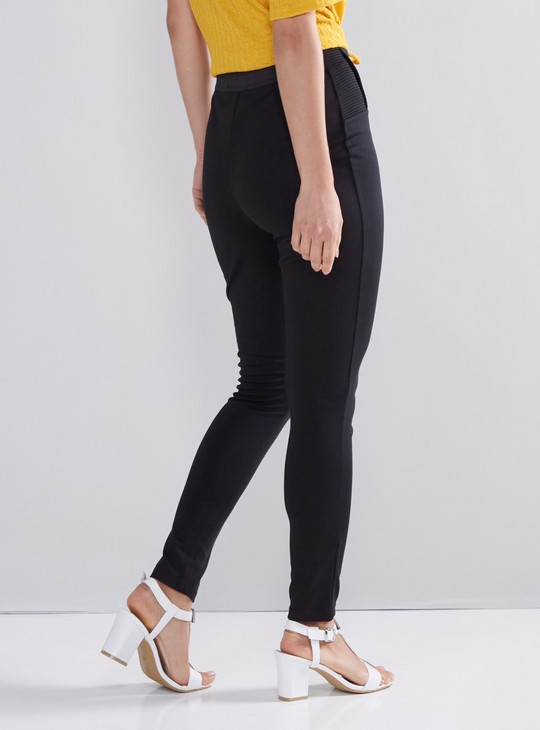 Solid Ankle Length Mid-Rise Ponte Pants
