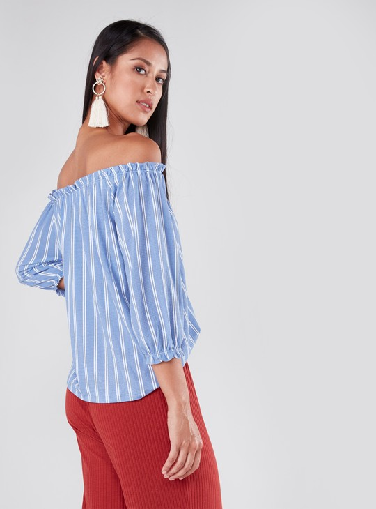 Striped Off Shoulder Top with 3/4 Sleeves
