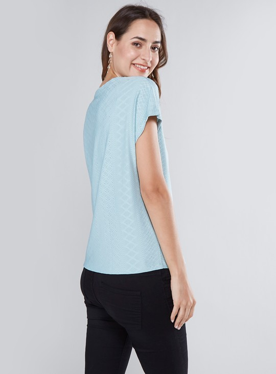 Textured Round-Neck Top with Cap Sleeves