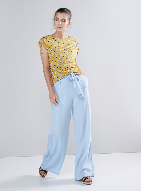 Floral Printed Top with Cold Shoulder Sleeves and Tie Up Detail