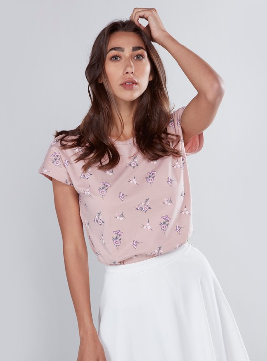 Floral Printed T-shirt with Round Neck and Cap Sleeves