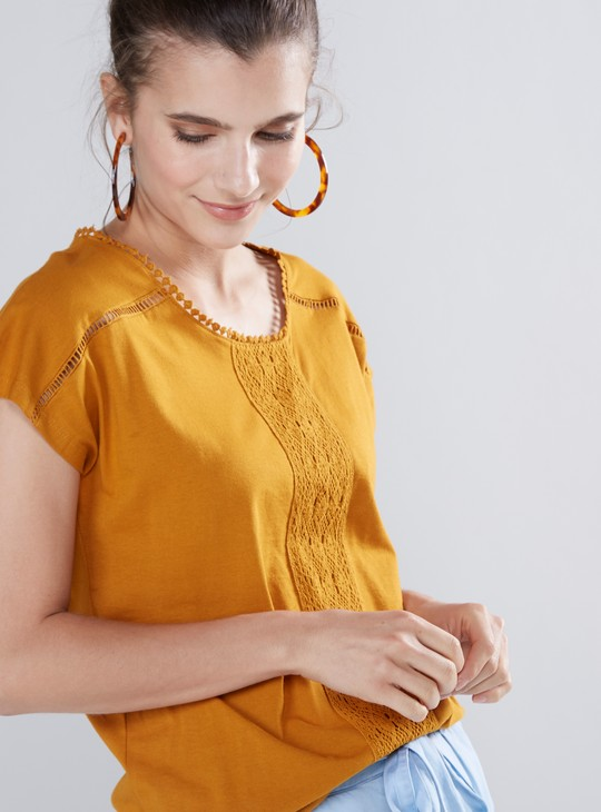 Crochet Detail Top with Extended Sleeves and Round Neck