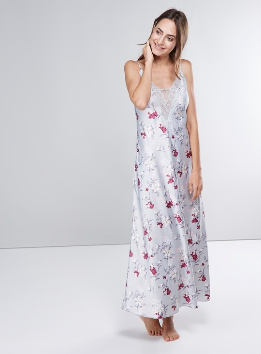 Printed Lace Detail Gown with Spaghetti Straps