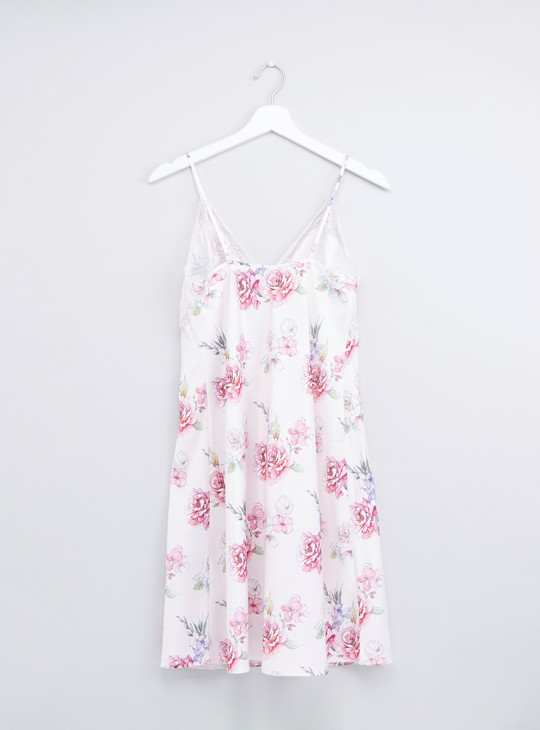 Floral Printed Chemises with Lace Detail