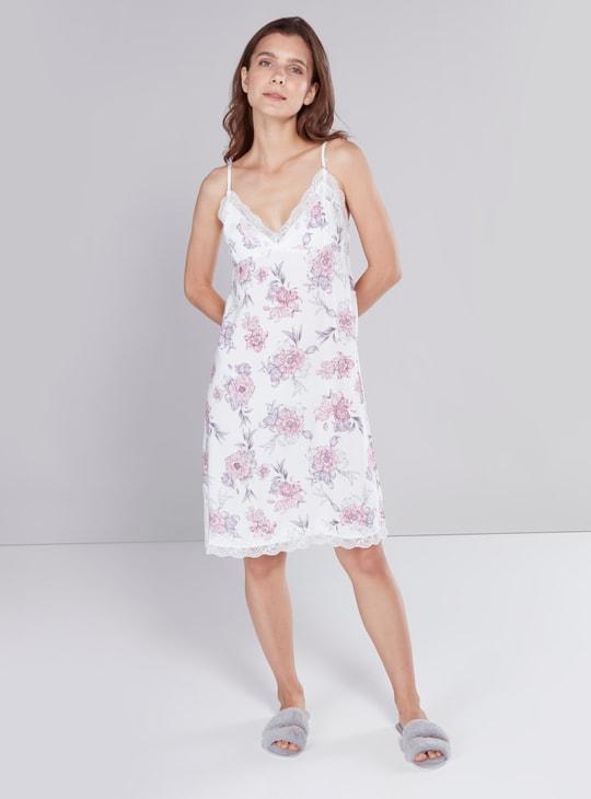 فستان نوم بطبعات زهرية مع أحزمة وتفاصيل دانتيل