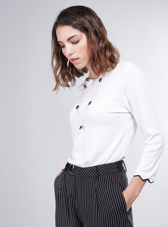 Ribbed Top with Long Sleeves and Scalloped Piping Detail