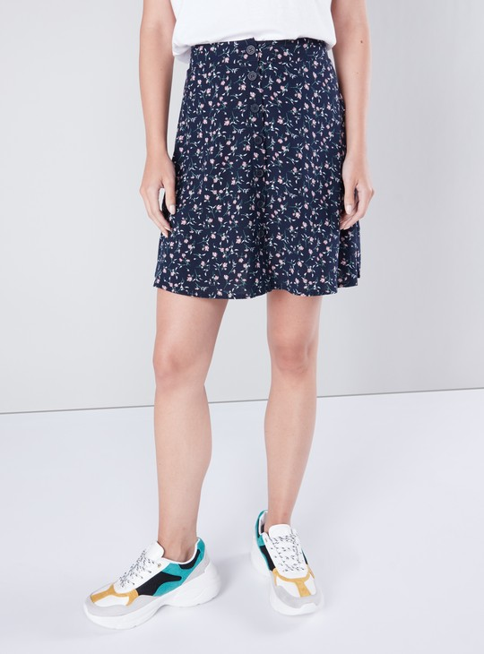 Floral Printed Mini Skirt with Button Closure