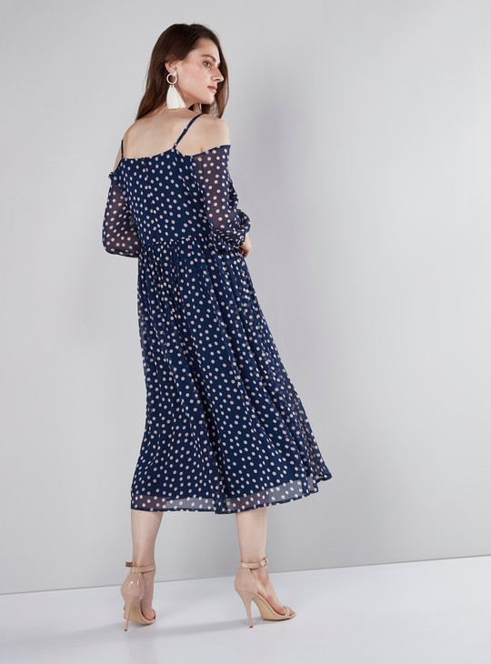 Polka Dot Printed Cold Shoulder Midi Dress with 3/4 Sleeves